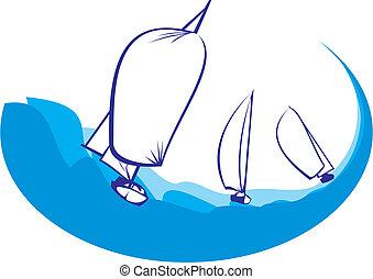 silhuett, -, yacht, regatta