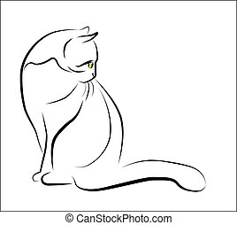 sittande, skissera, illustration, katt