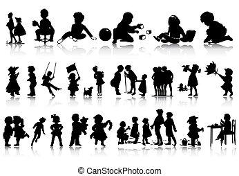 situations., illustration, silhouettes, vektor, olika, barn