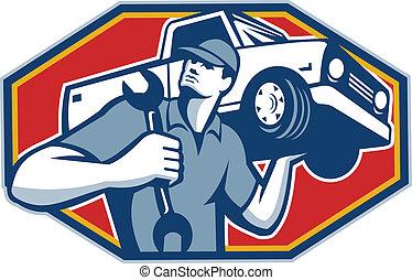 självgående, bil, retro, mekaniker, reparera