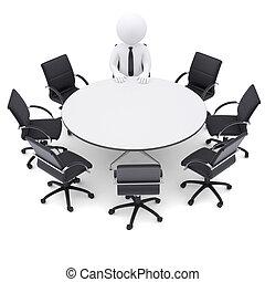 sju, stol, man, tabell., runda, tom, 3