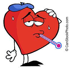 sjuk, hjärta, röd, termometer