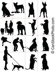 sjuk, hundkapplöpning, sätta, vektor, silhouette.