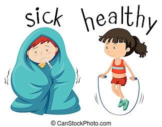 sjuk, motsats, wordcard, hälsosam, ord