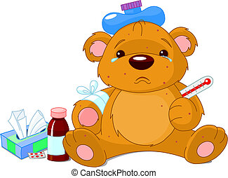 sjuk, nallebjörn