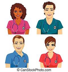 sjukhus, arbetare, grupp, ung, skura