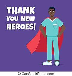 sjukhus, sköta, medicinsk, slåss, anställd, udde, bak, mot, sjukdomar, virus, ung, hjälte, manlig