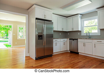 skåp, hårt virke golvbeläggning, inre, vit, sänka, kök