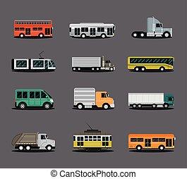 skåpbil, bil, lastbil, synhåll, släpvagn, medel, slagen, lastbil, sida, buss, olika