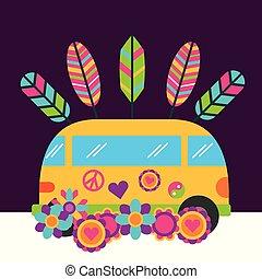 skåpbil, hippie, årgång, gratis, retro blommar, ande