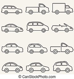 skåpbil, lastbil, fodra, bilar, ikonen