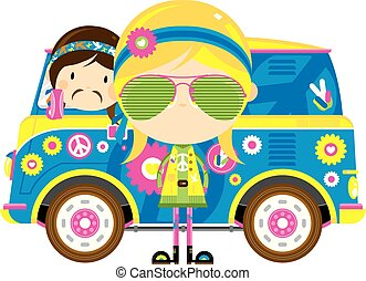 skåpbil, retro, hippies, tecknad film