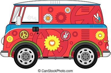 skåpbil, tecknad film, hippie