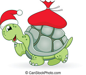 sköldpadda, jul, tecknad film
