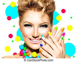 skönhet, färgrik, smink, tillbehör, spika polermedel, flicka