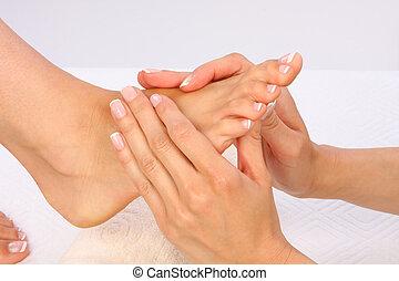 skönhet, foto, -, fötter, behandling, massera