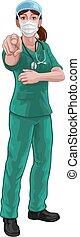 sköta, eller, pekande, likformig, läkare, kvinna, skura