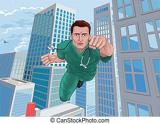 sköta, hjälte, superhero, läkare, skura, flygning, toppen