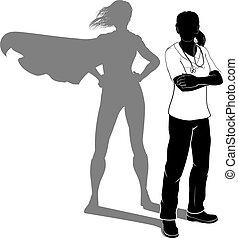 sköta, kvinna, silhuett, hjälte, skura, toppen, läkare