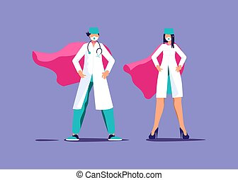 sköta, läkare, superhero