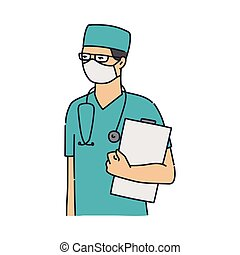 sköta, likformig, skyddande, mössa, maskera, manlig, tröttsam, kirurg, blå