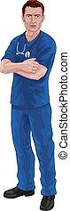 sköta, skura, eller, läkare, stetoskop