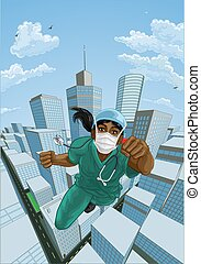 sköta, superhero, hjälte, läkare, skura, flygning, toppen