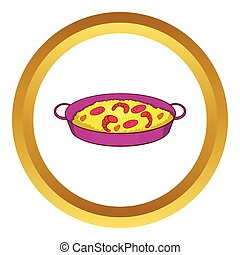 skaldjur, vektor, paella skål, ikon