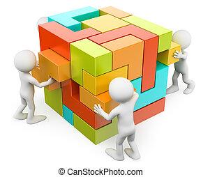 skapande, byggnad, folk., begrepp, 3, vit