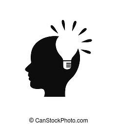 skapande, vektor, /, idé, lök, logo, lätt