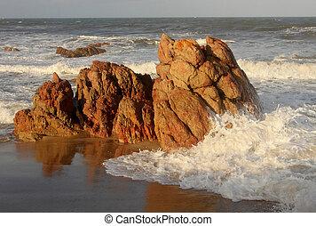 skarp, beachfront, rockar