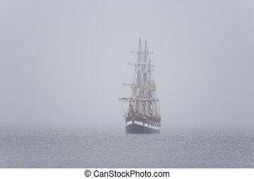 skepp, mist