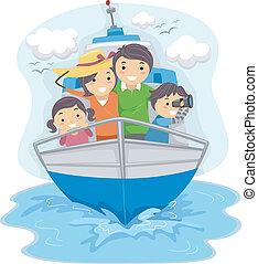skepp, resande, familj
