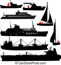 skepp, silhouettes