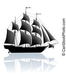 skepp, svart