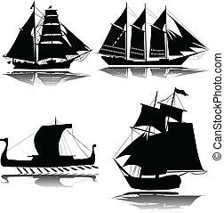 skepp, vektor, gammal