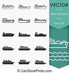 skepp, vektor, ikonen