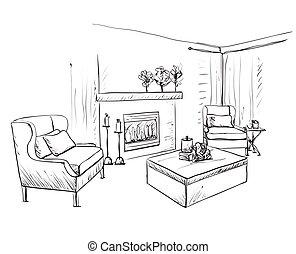 sketch., inre, sovrum möblemang, hand, oavgjord, nymodig