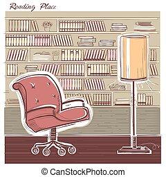 sketchy, färg, room., inre, illustration, läsning, vektor, hand, rita