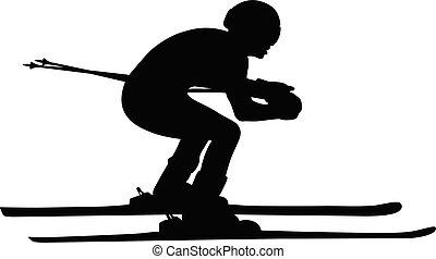 skidåkare, atlet, alpin skidåkning