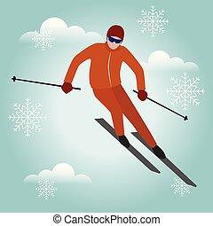 skidåkning, hastighet, livsstil, isometric, vinter, isolerat, varm, park., spel, alpin, urban, skiier., stil, olimpic, ytterlighet, rekreation, fiffel, sport., vektor, man, aktivitet