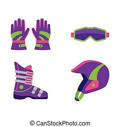 skidåkning, lägenhet, stil, snowboarding, utrustning