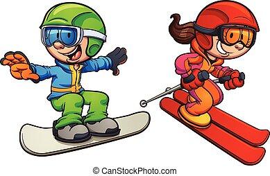 skidåkning, lurar, snowboarding