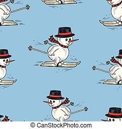 skidåkning, snowmen, seamless, mönster