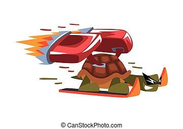 skidåkning, vektor, rolig, illustration, hastighet, booster, vit, djur, turboladdare, fasta, bakgrund, eld, tecken, tecknad film, sköldpadda
