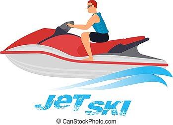 skida, illustration, jet