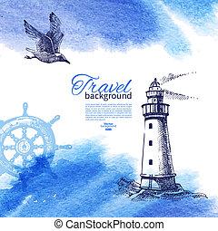 skiss, årgång, resa, illustration, hand, vattenfärg, bakgrund., hav, nautisk, oavgjord, design.
