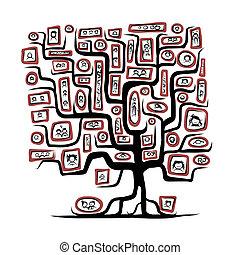 skiss, familj, folk, porträtten, träd, design, din