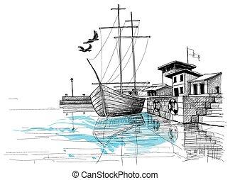 skiss, hamn, illustration, kust, vektor, båt