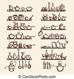 skiss, hyllor, din, utensils, design, teckning, kök